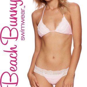NWT: Beach Bunny Pink Lady Lace Bikini Set